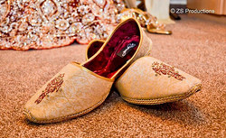 Traditional Pakistani embroidered wedding shoes for grooms, also known as khoose