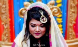 Bengali bride during her mehndi ceremony in Leeds