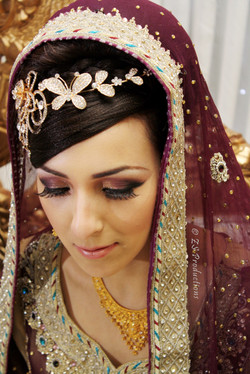 Modern bride face close up shot as she looks down