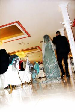 Bride and groom making an entrance at Mirage banqueting hall, Bradford