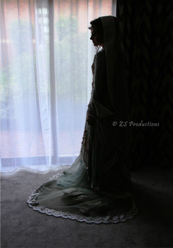Silhouette photo of wedding bride