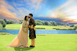 Baraat bridal pose of wedding couple in an outdoor location shoot