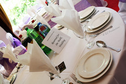 Table reserved sign and décor of a wedding at the Mercure hotel Bradford