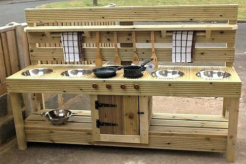Large wooden mud kitchen