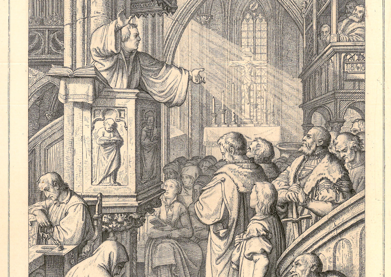 Martin Luther Preaching Law and Gospel