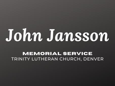 Memorial Service for John Jansson