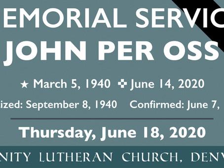 Funeral Service for John Per Oss