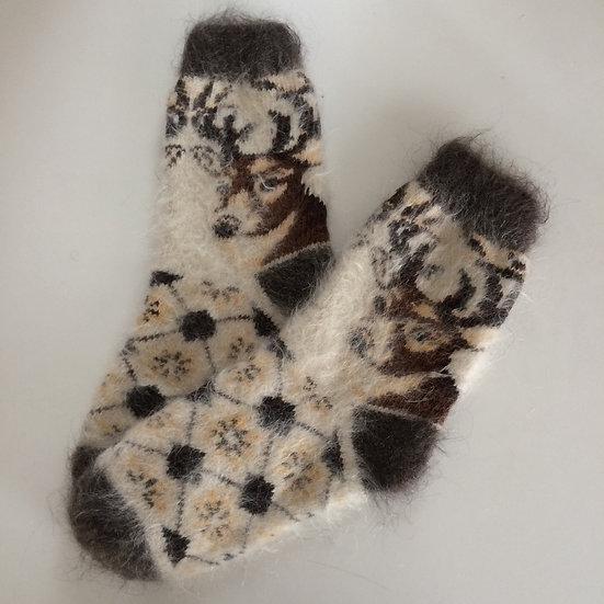 【23.5‐25cm】アンゴラ山羊の靴下(トナカイ)Goat Mohair Socks (Reindeer)