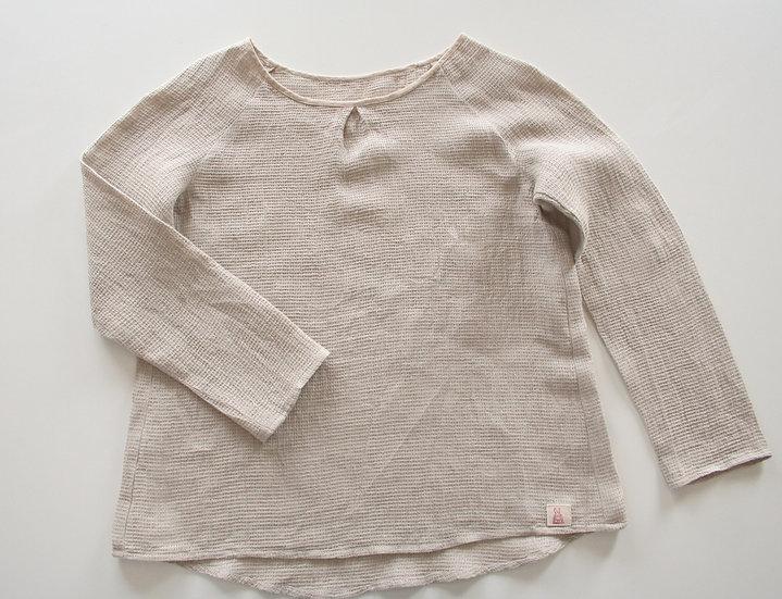 ワッフルリネンの長袖シャツ(ナチュラル) Linen Waffle Shirt (Natural)