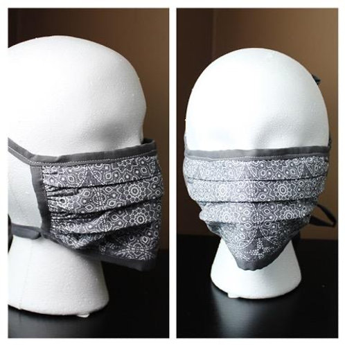 Face Mask Geometric Grey Print