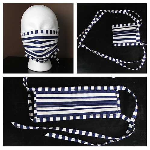 Face Mask Nautical Navy White Stripe