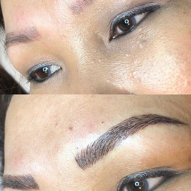 Eyebrows correction. Client had a bad Mi