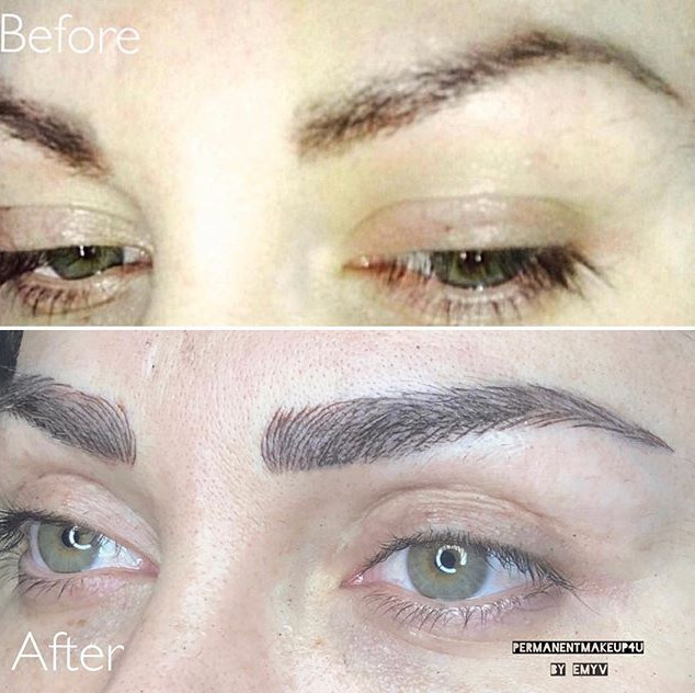Hybrid Brows=Microblading and machine co