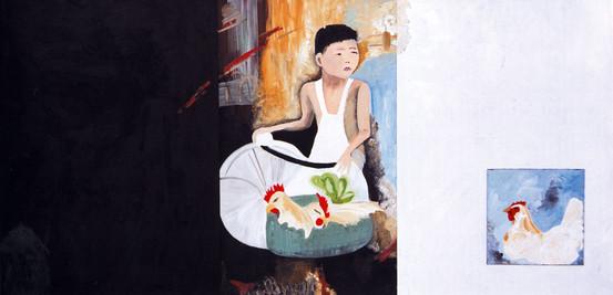 ילד סיני עם תרנגולות, 2003