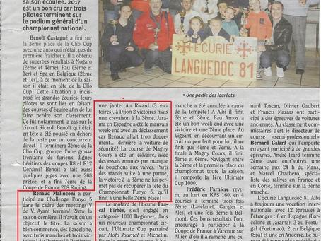 La remise des prix de l'Ecurie Languedoc 81 et Renaud, on en parle dans le Tarn Libre