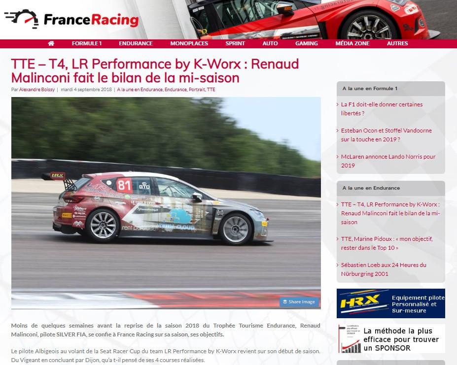 renaud malinconi trophée tourisme endurance TTE Seat Cupra TCR Lr Performance alientech marc lambec