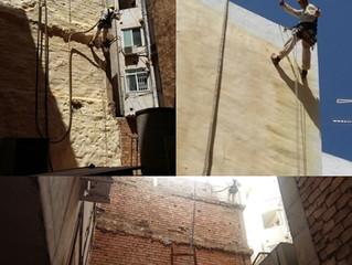 Rappel en la proyección de poliuretano sobre paredes