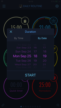 Setting up a duration of the Quick timer