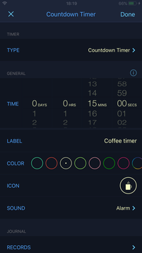 Timer settings and options
