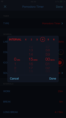 Additional individual timers settings