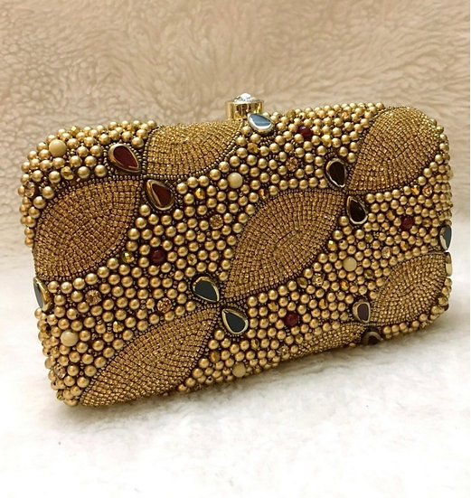 Gold -Brown Beaded Purse