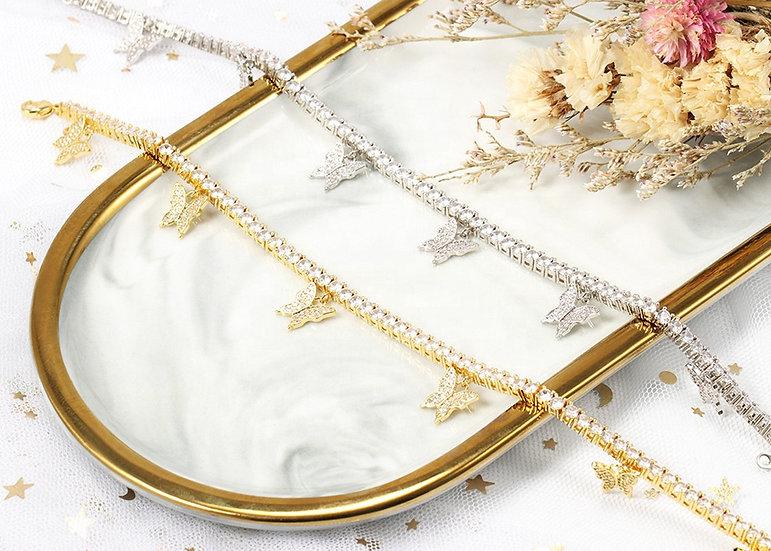 18cm Tennis Chain Butterfly Bracelet - 18cm