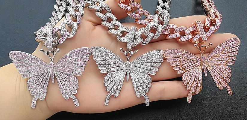 """16"""" Diamond butterfly necklace"""