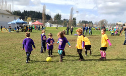 The purple team playing the yellow!