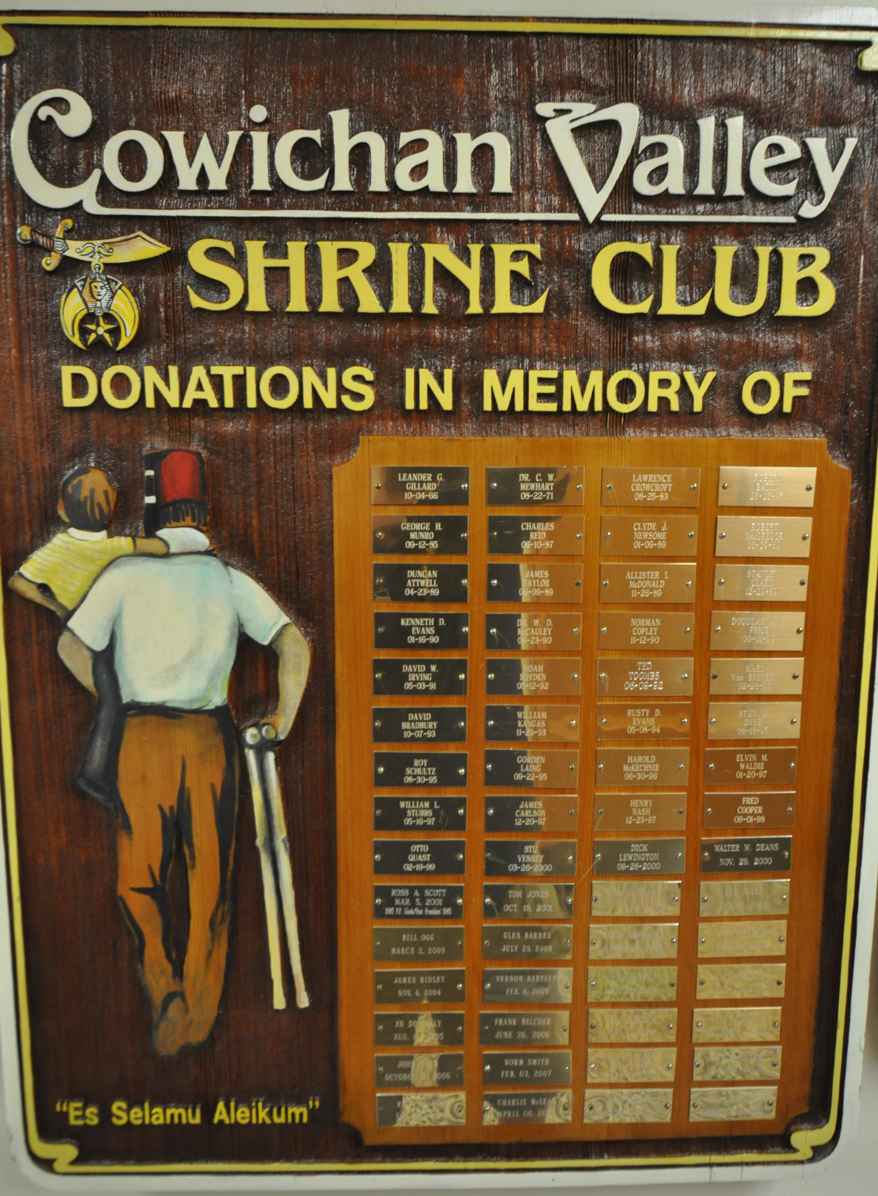 CVSC Memorial Plaque 2016