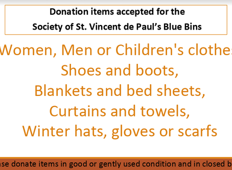 "St. Vincent de Paul donation bin -  ""Bring Charity to Life"""