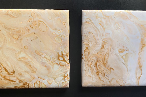 Two 4x4 Acrylic Tile Coasters with a Cork Bottom and Resin Topcoat