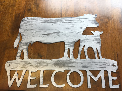 Welcome Cow Sign