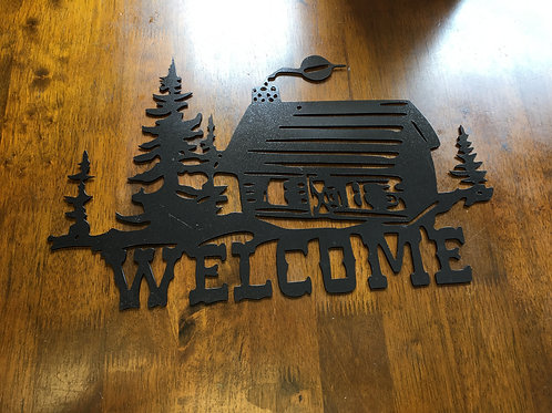 Welcome Log Cabin Sign