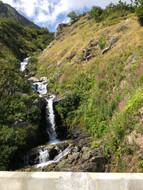 water rushing down a mountain river