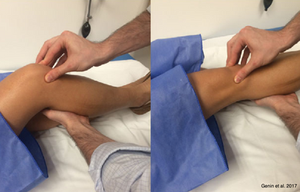 hand pressing on someone's knee while knee is flexing and extending