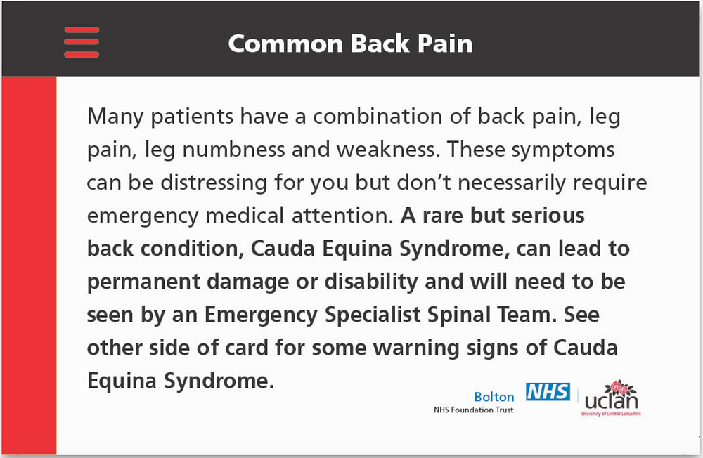 Common back pain checker card