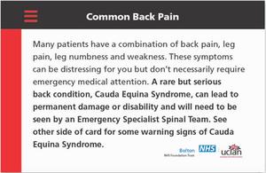 Common back pain checker card