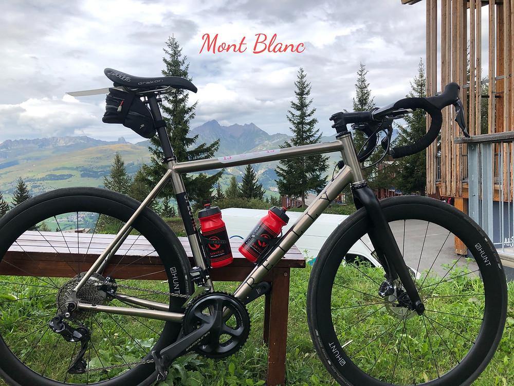 bike in front of mountain range