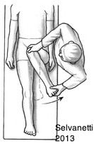 Black and white drawing of a doctor doing lateral movement with the leg of a patient