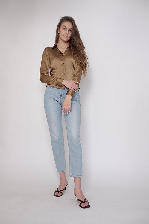 Jedwabna koszula brązowa