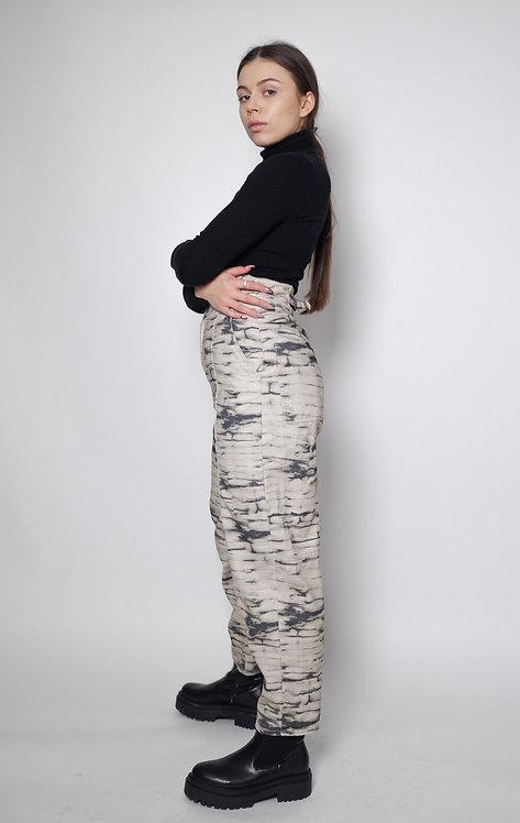 Spodnie w print z wysokim stanem
