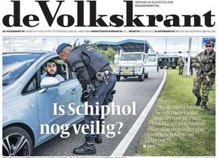 Cover-foto Volkskrant over beveiliging Schiphol onrechtmatig