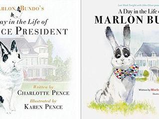 Het konijn van vice-president Mike Pence in de clinche met zijn parodie-konijn