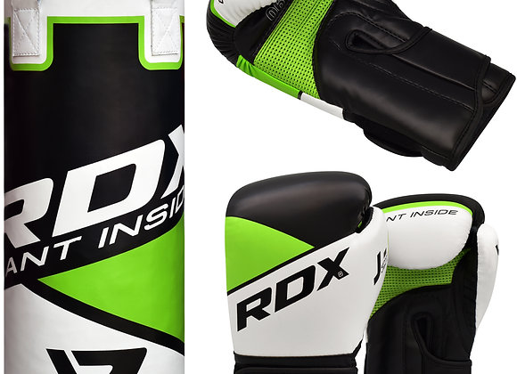 RDX R8 2ft Youth Punch Bag & Gloves Set Green / Black / White