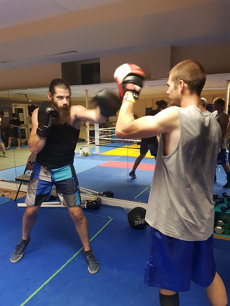 Comodus boxing club boxers training in partner hitting the mits