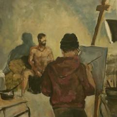 Aktmodell im Atelier