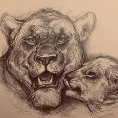 Wehrhafte Löwenmutter