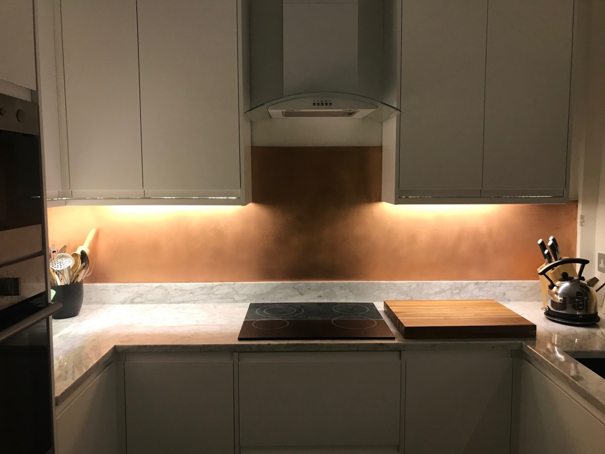 Brushed Copper splashback