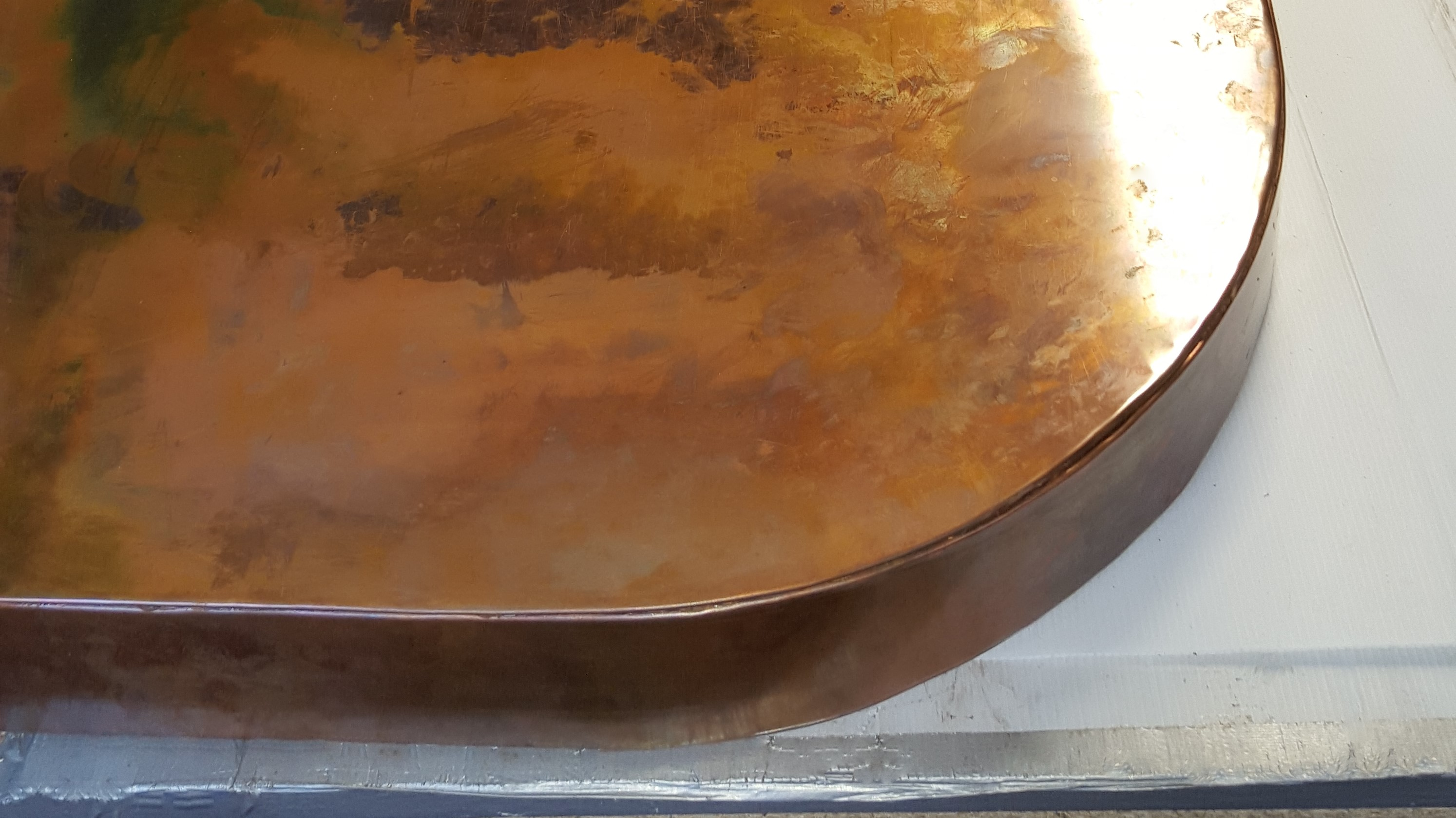 Distress copper worktop, semi sircle