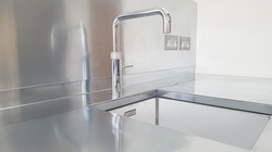 Zinc kitchen worktops, splash backs